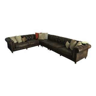 Restoration Hardware Kensington L-Shaped Sectional Couch With Throw Pillows For Sale