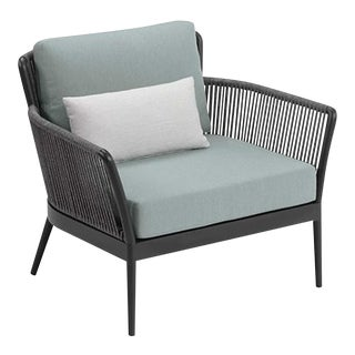 Outdoor Club Chair, Carbon, Seafoam and White For Sale