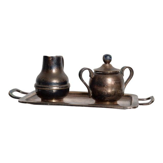 Mexican Mid-Century Los Castillo Silverplate & Malachite Azurite Stone Coffee Tea Serving Set - 3 Pc. For Sale