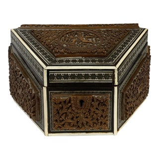 Early 20th Century Carved Wood Inlay Box For Sale