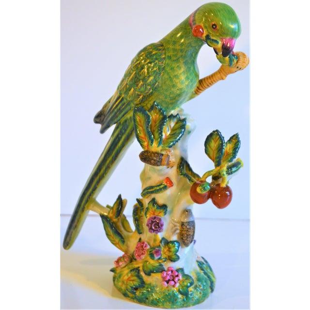 1980s (Final Markdown Taken) Vintage Green Majolica Parrot Figurine For Sale - Image 5 of 9
