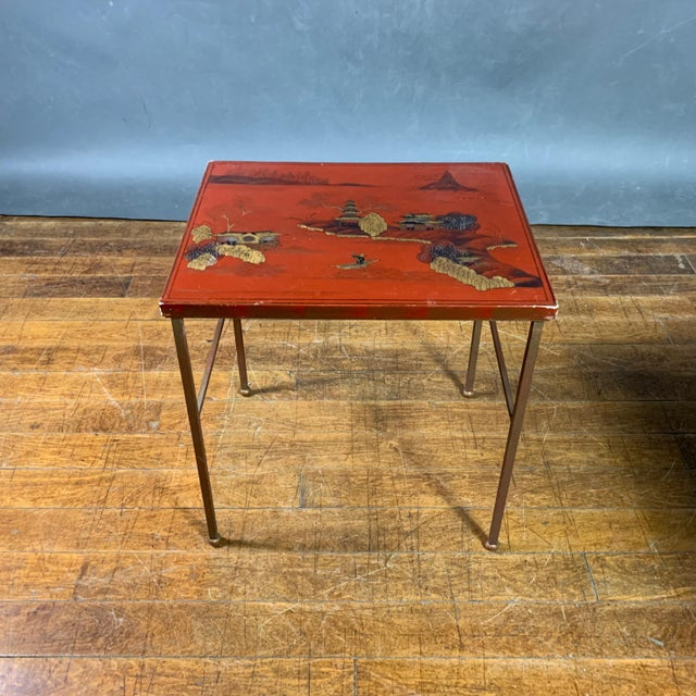 Metal 19th Century Chinese Red Lacquered Nesting Tables - Set of 3 For Sale - Image 7 of 13