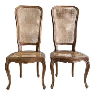 Pair of Antique French Bergere Style Side Cain Chairs