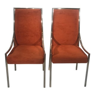 1970s Vintage Bassett Burnt Orange Velvet Dining Chairs - a Pair For Sale