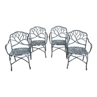 Vintage Faux Bois Outdoor Dining Chairs- Set of 4 For Sale