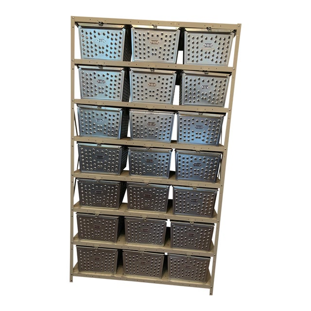 Vintage Industrial Swim and Gym Basket Lockers With Shelving For Sale