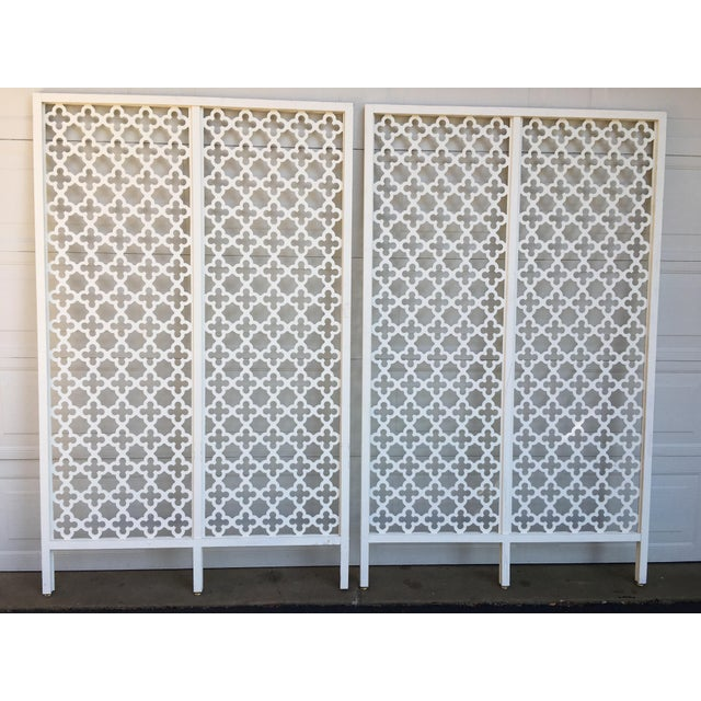 Mid-Century Modern Geometric White Wood Room Dividers - a Pair For Sale - Image 4 of 10