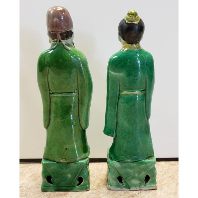 Chinese Late 19th Century Chinese Famille Verte Porcelain Scholar and Court Lady Figurines - a Pair For Sale - Image 3 of 6