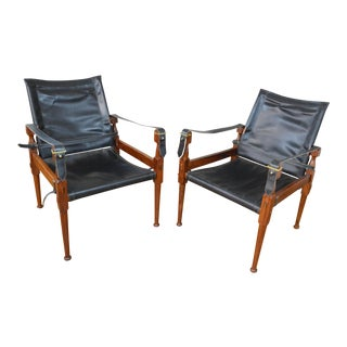 Elegant Pair of M. Hayat Rosewood and Leather Safari Chairs