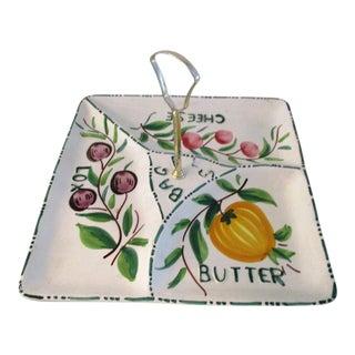 Vintage Italian Pottery Bagel Serving Platter For Sale