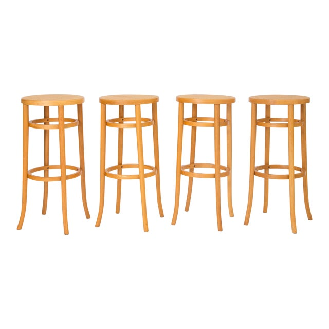 Set of Four Thonet Bentwood Bar Stools For Sale