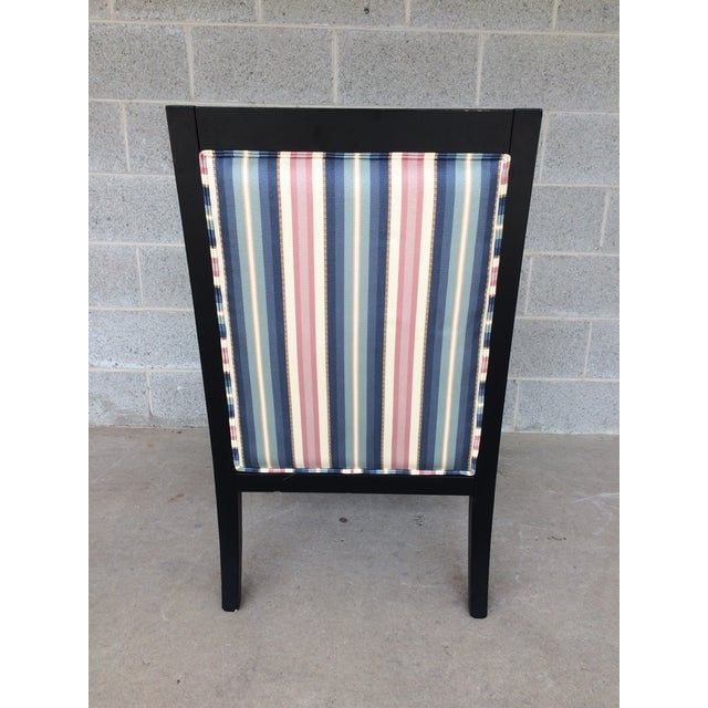 Ethan Allen Dolphin Federal Black/Gold Trim Upholstered Arm Chair For Sale - Image 9 of 10