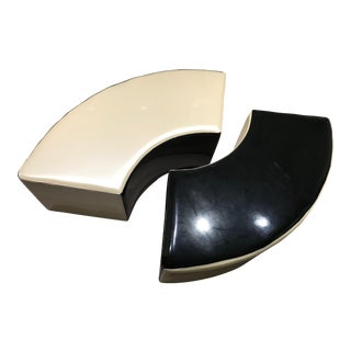 Custom Fuax Patent Leather Ying Yang Benches- a Pair For Sale