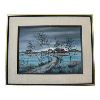 Mid Century Landscape by Hugo Casar in Original Frame For Sale