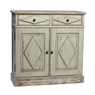 Antiqued Grey Farmhouse Cabinet For Sale