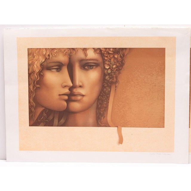 """1980s Jean Paul Cleren Limited Edition Lithograph-""""Double Visage""""-Pencil Signed/Numbered For Sale - Image 5 of 6"""