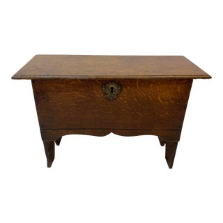 18th to 19th Century Lidded Oak Low Stool With Interior Storage For Sale