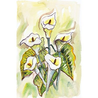 Watercolor Still Life Painting - White Flowers For Sale