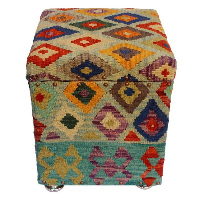 Cristina Lt. Blue/Blue Kilim Upholstered Handmade Storage Ottoman For Sale - Image 4 of 8