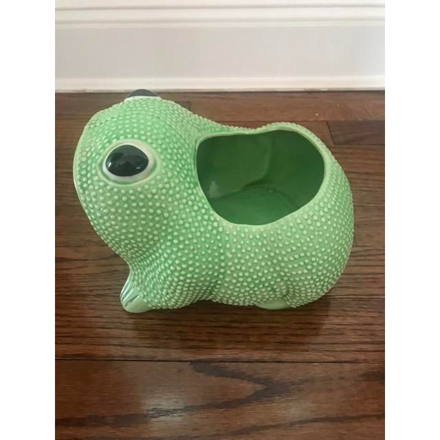 Green Ceramic Frog Planter - Image 3 of 6