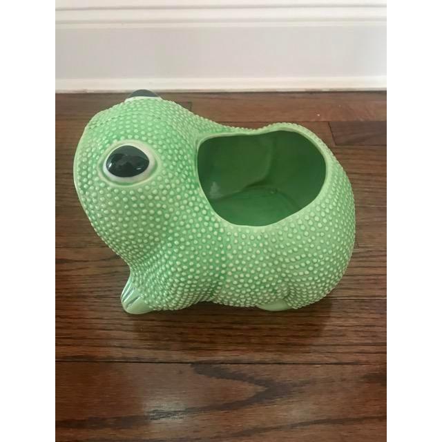 Hollywood Regency Green Ceramic Frog Planter For Sale - Image 3 of 6