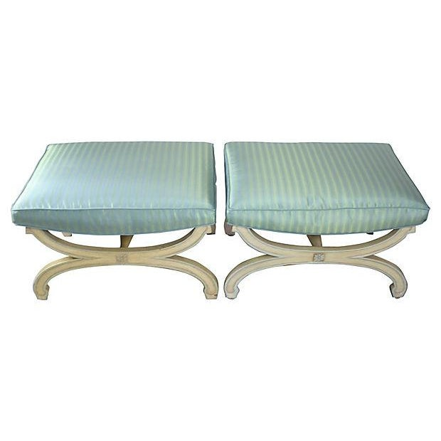1950s Cerulean X-Stools - Pair - Image 1 of 4