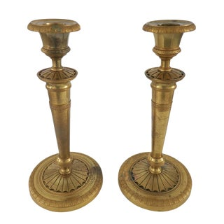 Late 19th Century Vintage French Louis XVI Style Gilt Bronze Candleholders- a Pair For Sale