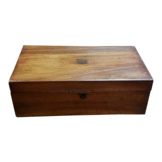 19th Century Walnut Traveling Lap Writing Desk Box For Sale