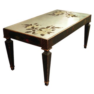 Mid- Century Chinoiserie Coffee Table With Reverse Painted Mirror Top For Sale