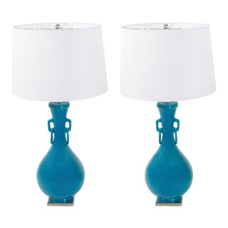 Mid-Century Turquoise Asian Crackled Ceramic Lamps - A Pair