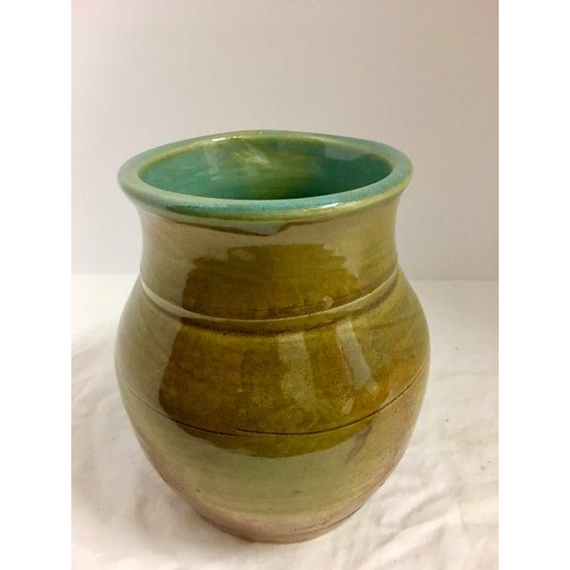 Vintage Ceramic Vase With Aqua Interior For Sale - Image 10 of 10