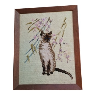 Framed Handdone Cat Needlepoint For Sale