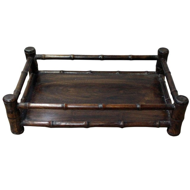 Wood Chinese Brown Wood Carved Rectangular Table Top Stand Display Easel For Sale - Image 7 of 8