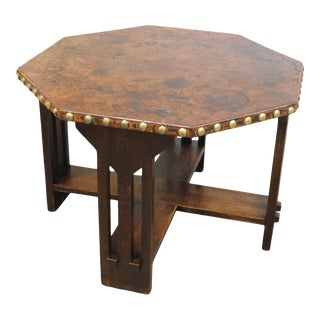 Antique Mission Oak Octagon Leather Top Game Table For Sale