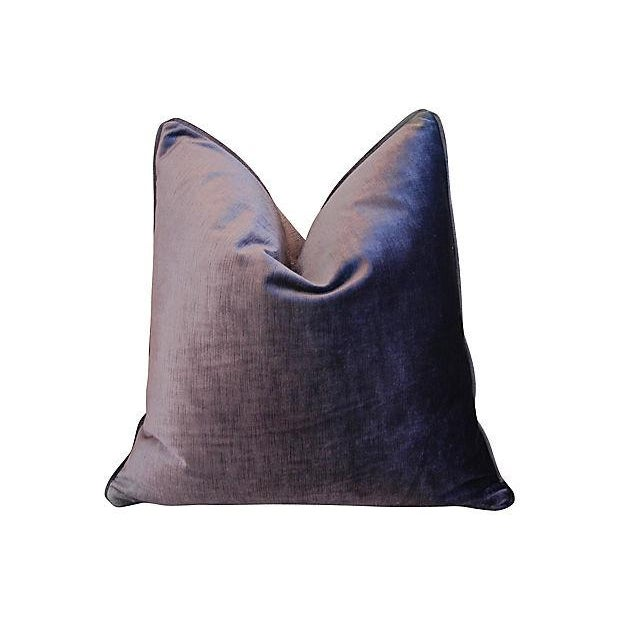 "Boho Chic 24"" Custom Tailored Deep Eggplant Purple Velvet Feather/Down Pillow For Sale - Image 3 of 4"