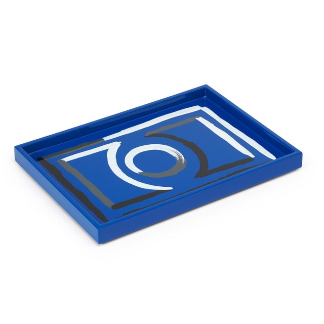 The Lacquer Company Luke Edward Hall Collection Small Etienne Tray in Blue For Sale - Image 4 of 4