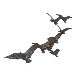 Vintage Flock of Birds Wall Sculpture For Sale