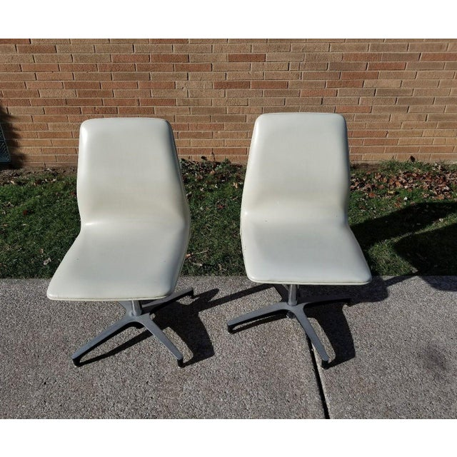 MCM Chromcraft Vinyl Swivel Chairs - a Pair For Sale - Image 10 of 11