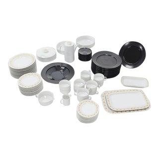 Tapio Wirkkala for Rosenthal Noire Porcelain Dinnerware - Set of 80 For Sale