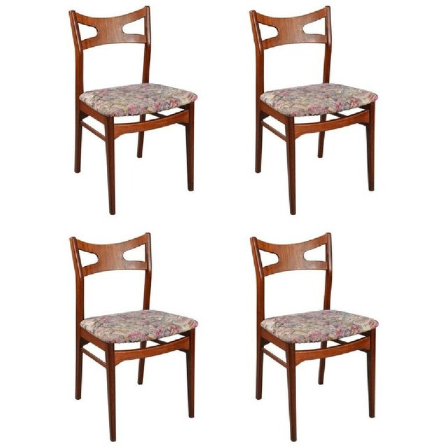 1960s Floral Teak Dining Chairs, 1960s - Set of 4 For Sale - Image 5 of 5