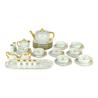 1900s German Vintage Lusterware Luncheon Set - Set of 31 For Sale