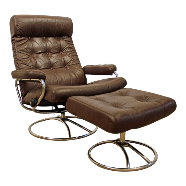 Mid-Century Danish Modern Ekornes Stressless Chrome Lounge Chair/Ottoman For Sale