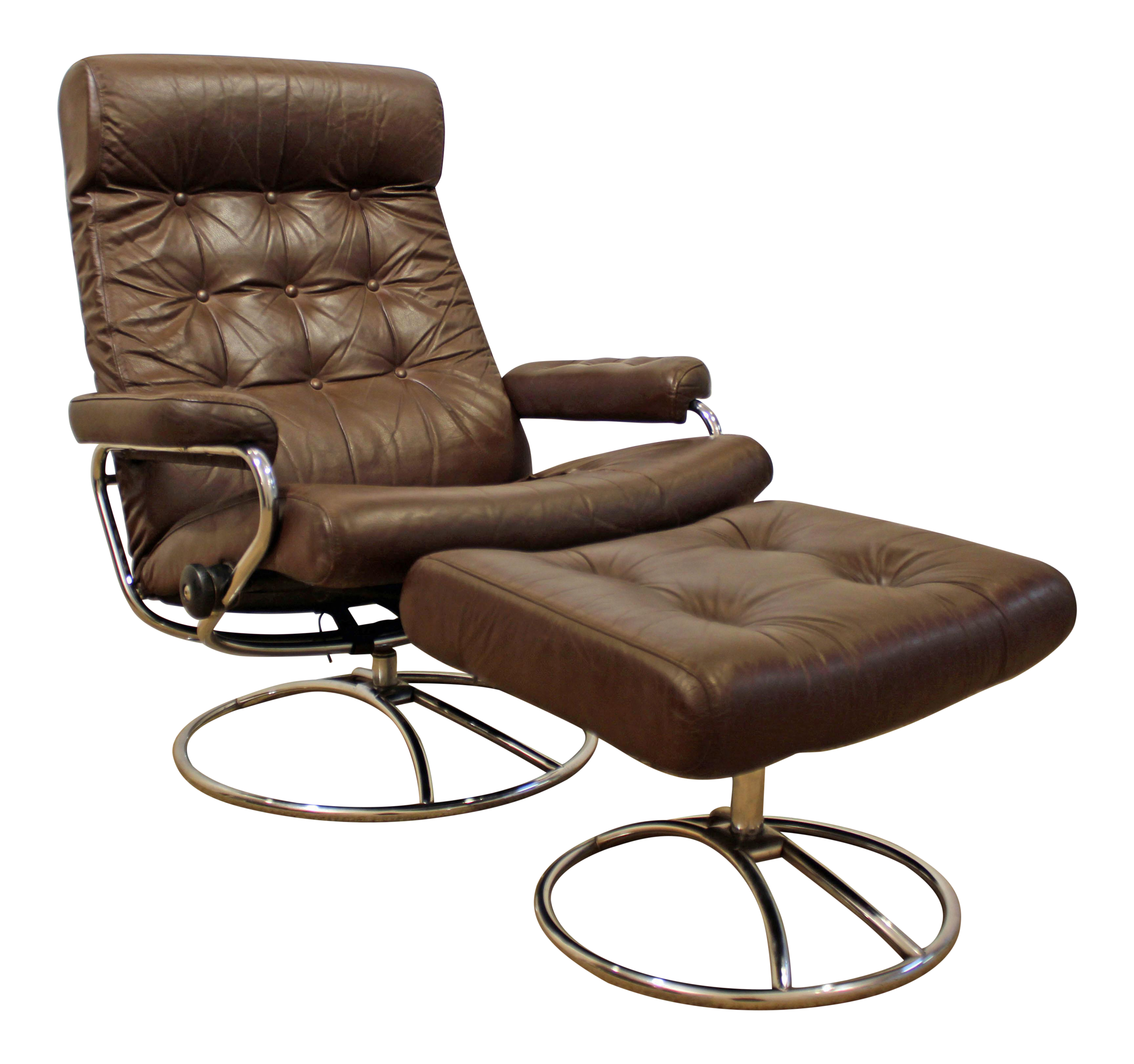 Attractive Mid Century Danish Modern Ekornes Stressless Chrome Lounge Chair/Ottoman
