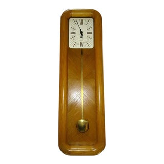 1970s Danish Modern Oak Howard Miller Mantel Clock For Sale