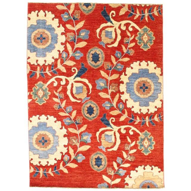 "2010s Pasargad N Y Super Kazak Lamb's Wool Rug - 5'8"" X 7'8"" For Sale - Image 5 of 5"