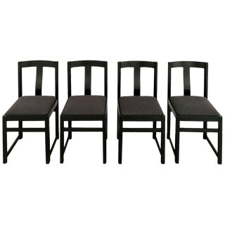1970s Set of Four Chairs in the Style of Alfons Milà, Ash, Fabric - Barcelona For Sale