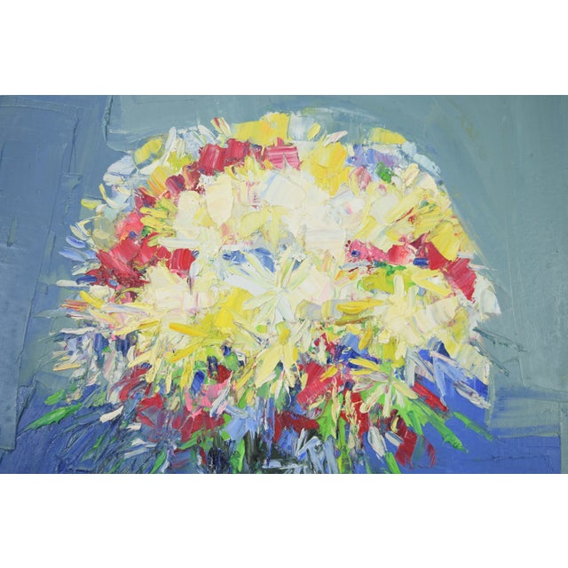 Italo Botti Mid-Century Modern Floral Still Life Oil Painting For Sale In Chicago - Image 6 of 9