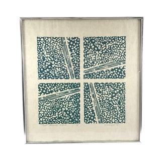 1976 J Wallace Slight Gradation in Blue Framed & Signed Relief Print For Sale
