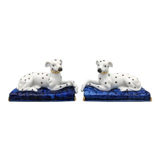 Late 20th Century Staffordshire Style Dalmation Dogs on Cushions Figurines - a Pair For Sale