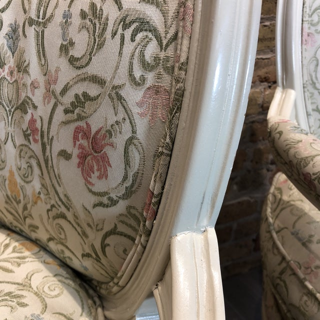 Green 1930s Vintage French Style Upholstered Chairs- a Pair For Sale - Image 8 of 13